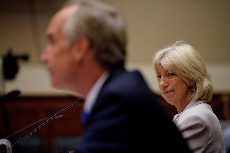 WASHINGTON, DC - July 20: Former Interior Secretary Dirk Kempthorne (2006-2009) and former Interior Secretary Gale Norton (2001-2006) during the House Energy and Commerce Subcommittee on Energy and Environment hearing on the role of the Interior Department in British Petroleum's Deepwater Horizon oil spill. (Photo by Scott J. Ferrell/Congressional Quarterly)
