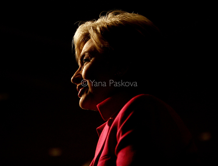 U.S. Presidential hopeful Hillary Clinton (D-NY) speaks to the AFL-CIO in Philadelphia, Pennsylvania, on Tuesday, April 01, 2008. The Senator is hoping to woo crucial to her votes in the state before its primary on April 22, 2008. (Photograph by Yana Paskova for Newsweek)