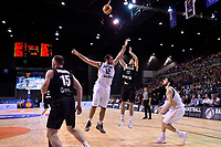 New Zealand Tall Blacks' Kruz Perrott-Hunt and Jordan's Yousef Abuwazaneh in action during the FIBA World Cup Basketball Qualifier - NZ Tall Blacks v Jordan at Horncastle Arena, Christchurch, New Zealand on Thursday 29 November  2018. <br /> Photo by Masanori Udagawa. <br /> www.photowellington.photoshelter.com