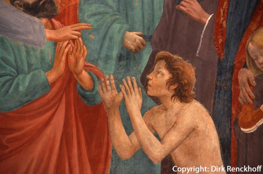 Fresken von Masaccio und Masolino in der Brancacci-Kapelle der Kirche Santa Maria del Carmine, Florenz, Toskana, Italien, Unesco-Weltkulturerbe