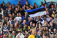 Bath fans in the crowd celebrate a try. Amlin Challenge Cup Final, between Bath Rugby and Northampton Saints on May 23, 2014 at the Cardiff Arms Park in Cardiff, Wales. Photo by: Patrick Khachfe / Onside Images