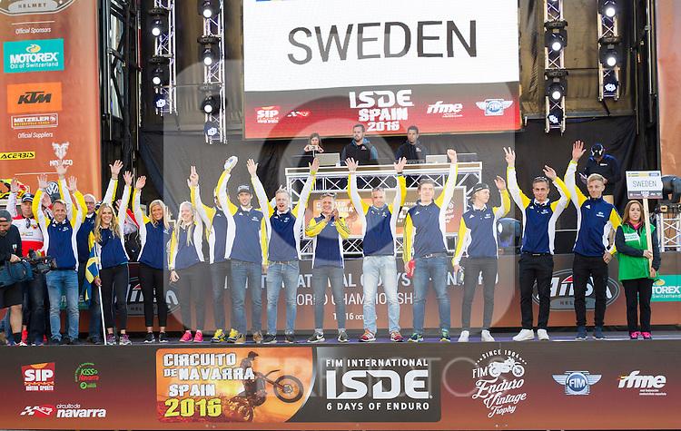 Sweden enduro team during the presentation of the FIM international six days of enduro 2016 in Pamplona, Spain. October 09, 2016. (ALTERPHOTOS/Rodrigo Jimenez)