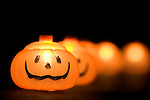 horizontal Halloween lighting decoration still life fall autumn season seasonal holiday tradition traditional decor decorated decorating pumpkin jack-o-lantern lights festive