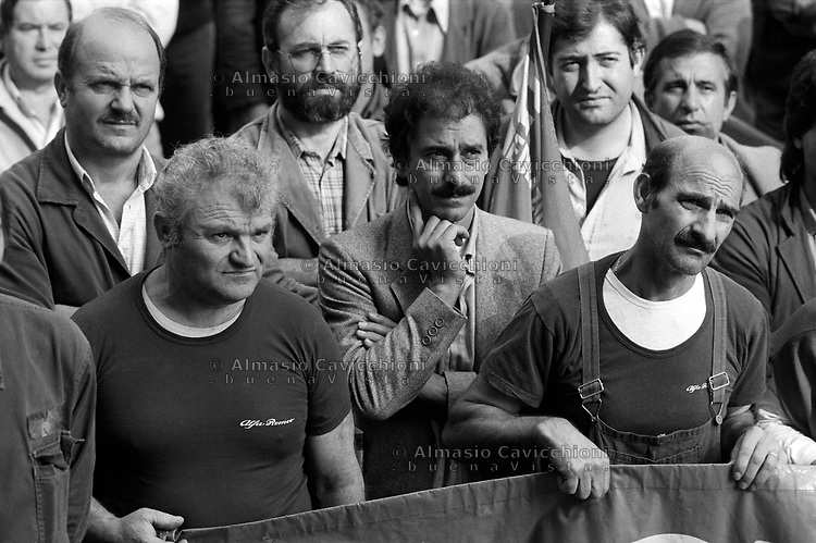 Ottobre 1986 Milano: sciopero generale dei metalmeccanici<br /> October 1986 Milan: general strike of the metalworkers