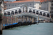High resolution view of the Rialto Bridge with the iconic gondolas from a water taxi in the middle of the Canal Grande (Grande Canal) in Venice, Italy during the noon hour on Sunday, May 27, 2018.<br /> Credit: Ron Sachs / CNP