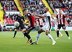 David Brooks of Sheffield Utd in action with Adam Chambers of Walsall during the Carabao Cup round One match at Bramall Lane Stadium, Sheffield. Picture date 9th August 2017. Picture credit should read: Jamie Tyerman/Sportimage