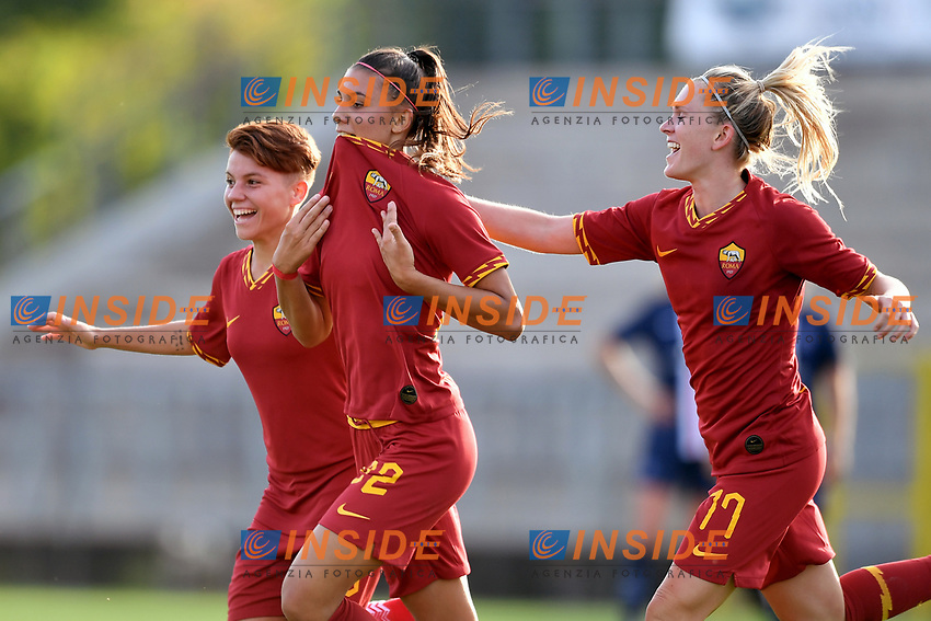Agnese Bonfantini of AS Roma celebrates after scoring the goal of 2-2 with Manuela Giugliano and Amalie Thestrup <br /> Roma 8/9/2019 Stadio Tre Fontane <br /> Luisa Petrucci Trophy 2019<br /> AS Roma - Paris Saint Germain<br /> Photo Andrea Staccioli / Insidefoto