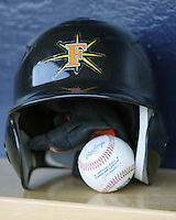 Frederick helmet 6019.JPG. Carolina League Myrtle Beach Pelicans at the Frederick Keys at Harry Grove Stadium on May 13th 2009 in Frederick, Maryland. Photo by Andrew Woolley.