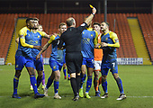 18/12/18 The Emirates FA Cup, 2nd Round Replay Blackpool v Solihull Moor<br /> <br /> Jamey Osbourne booked following a challenge on Armand Gnanduillet