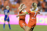Houston, TX - Sunday Sept. 25, 2016: Denise O'Sullivan, Kealia Ohai celebrates scoring during a regular season National Women's Soccer League (NWSL) match between the Houston Dash and the Seattle Reign FC at BBVA Compass Stadium.