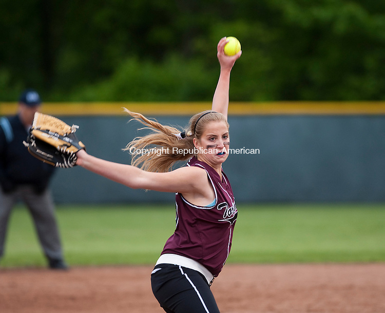 WOLCOTT, CT-052814JS16--Torrington's Sydney Matzko (25) delivers a pitch during their NVL softball semi-final game against Naugatuck Wednesday at Wolcott High School. <br /> Jim Shannon Republican-American