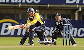 See story re Saltires keeper Simon Smith by William Dick : Friends Provident Trophy - Warwickshire Bears V Scottish Saltires at Edgbaston, Birmingham - Saltires keeper Simon Smith in action, here standing up to Warcs veteran batsman and keeper Tony Frost - Picture by Donald MacLeod - 3 May 2009