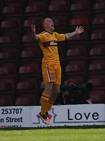 Nicky Law celebrates scoring in the Motherwell v St Johnstone Clydesdale Bank Scottish Premier League match played at Fir Park, Motherwell on 28.4.12.