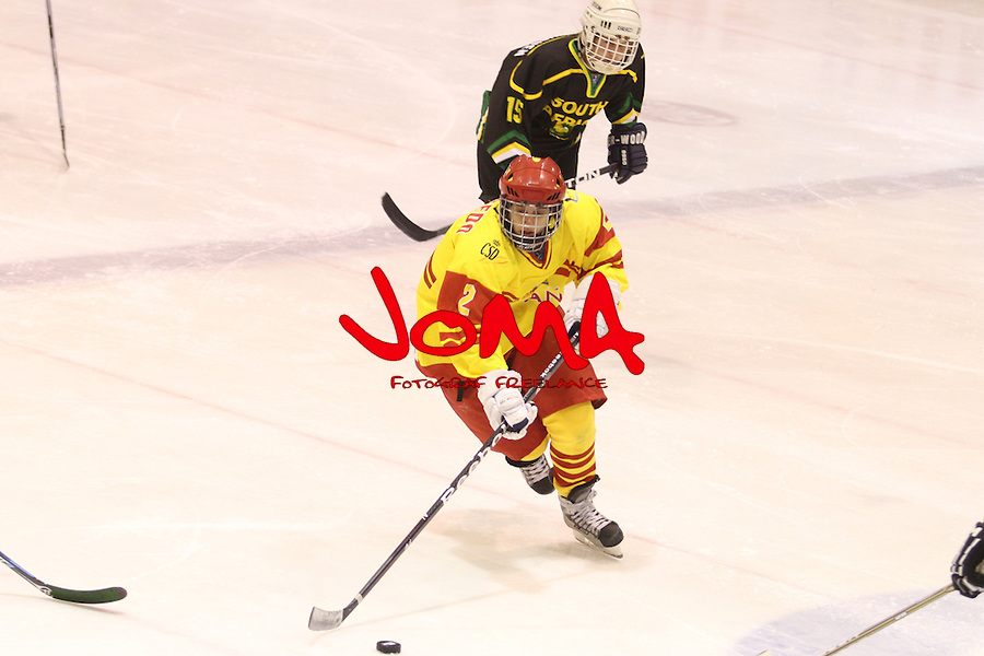 04.04.2013 Puigcerda, Spain. IIHF Ice Hockey Women's World Championship Div II Group B. Picture show Ana Ucedo   in action during Game between Spain against South Africa
