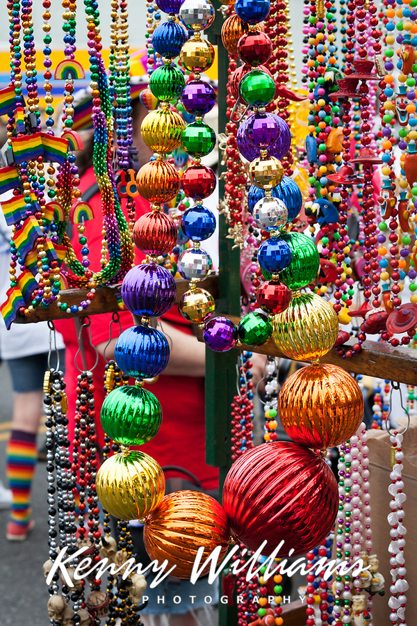 Rainbow Necklaces, Seattle PrideFest 2015, Washington State, WA, America, USA.