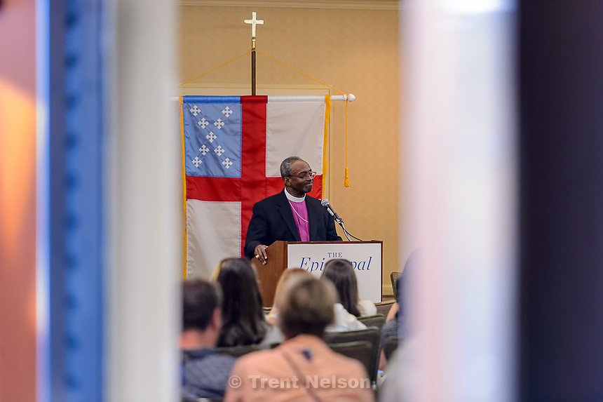 Trent Nelson  |  The Salt Lake Tribune<br /> Michael Curry, named Saturday as the Episcopal Church's first African-American presiding bishop, spoke to reporters during the  national assembly in Salt Lake City, Saturday June 27, 2015.