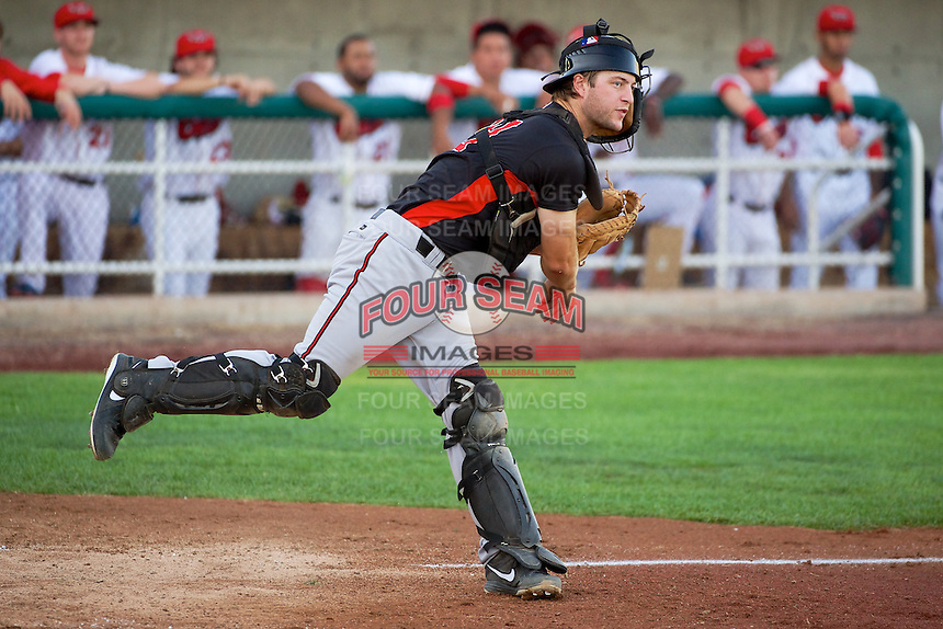 Garrett Boulware (39) of the Billings Mustangs on defense against the Orem Owlz in Pioneer League action at Home of the OWLZ on August 15, 2014 in Orem , Utah.  (Stephen Smith/Four Seam Images)