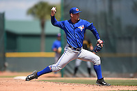 Toronto Blue Jays pitcher Jonathon Wandling (24) during a minor league spring training game against the Pittsburgh Pirates on March 21, 2015 at Pirate City in Bradenton, Florida.  (Mike Janes/Four Seam Images)