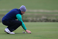 Ronan Mullarney from Ireland on the 4th green during Round 3 Foursomes of the Men's Home Internationals 2018 at Conwy Golf Club, Conwy, Wales on Friday 14th September 2018.<br /> Picture: Thos Caffrey / Golffile<br /> <br /> All photo usage must carry mandatory copyright credit (&copy; Golffile | Thos Caffrey)