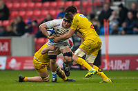 24th November 2019; AJ Bell Stadium, Salford, Lancashire, England; European Champions Cup Rugby, Sale Sharks versus La Rochelle; Ben Curry of Sale Sharks is tackled by Romain Sazy of La Rochelle - Editorial Use