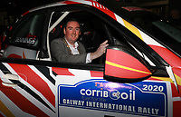 1st February 2020; Galway, Galway, Ireland; Irish Tarmac Rally Championship, Galway International Rally; Mayor of the City of Galway Mike Cubbard gets behind the wheel of No.1 seed Garry Jennings's Subaru Impreza WRC at the team introductions