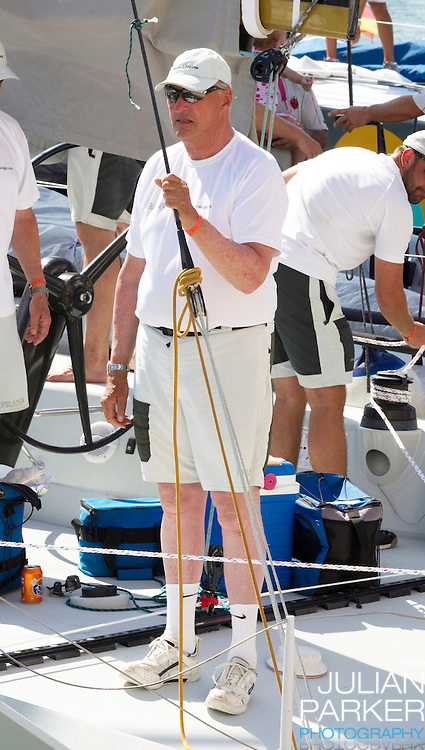 King Harald of Norway at The Royal Yacht Club, in Palma, Mallorca..after competing in the first day of the Copa Del Rey sailing regatta