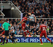 1st October 2017, St James Park, Newcastle upon Tyne, England; EPL Premier League football, Newcastle United versus Liverpool; Ayoze Perez of Newcastle United beats Joe Gomez of Liverpool in the air in the 1-1 draw