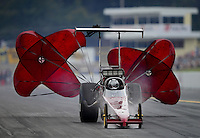 Oct. 6, 2012; Mohnton, PA, USA: NHRA top alcohol dragster driver XXXX during the Auto Plus Nationals at Maple Grove Raceway. Mandatory Credit: Mark J. Rebilas-
