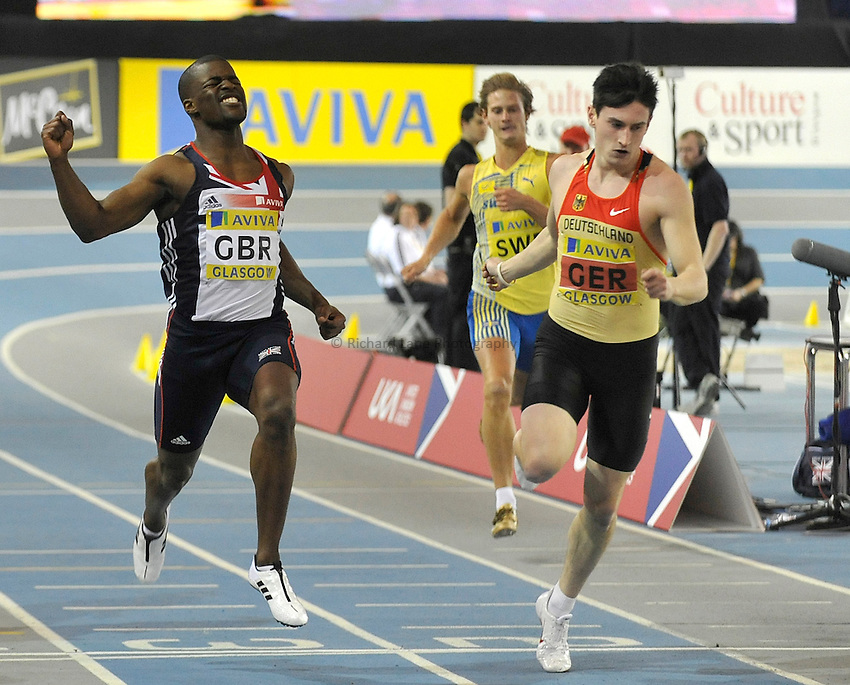 Photo: Paul Greenwood/Richard Lane Photography. Aviva International Match. 30/01/2010. .Great Britain's Leon Baptiste, left, celebrates winning the Mens 200m.