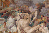 Detail of the Death of Adonis, showing Adonis and angels, fresco by Rosso Fiorentino, 1535-37, in the Galerie Francois I, begun 1528, the first great gallery in France and the origination of the Renaissance style in France, Chateau de Fontainebleau, France. The Palace of Fontainebleau is one of the largest French royal palaces and was begun in the early 16th century for Francois I. It was listed as a UNESCO World Heritage Site in 1981. Picture by Manuel Cohen