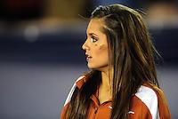 Jan 7, 2010; Pasadena, CA, USA; A cheerleader for the Texas Longhorns during the third quarter of the 2010 BCS national championship game against the Alabama Crimson Tide at the Rose Bowl.  Mandatory Credit: Mark J. Rebilas-