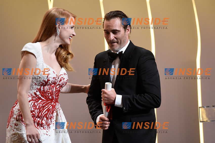 Joaquim Phoenix - Jessica Chastain<br /> 28-05-2017 Cannes <br /> 70ma edizione Festival del Cinema <br /> Awards night . Serata Finale <br /> Foto Panoramic/Insidefoto