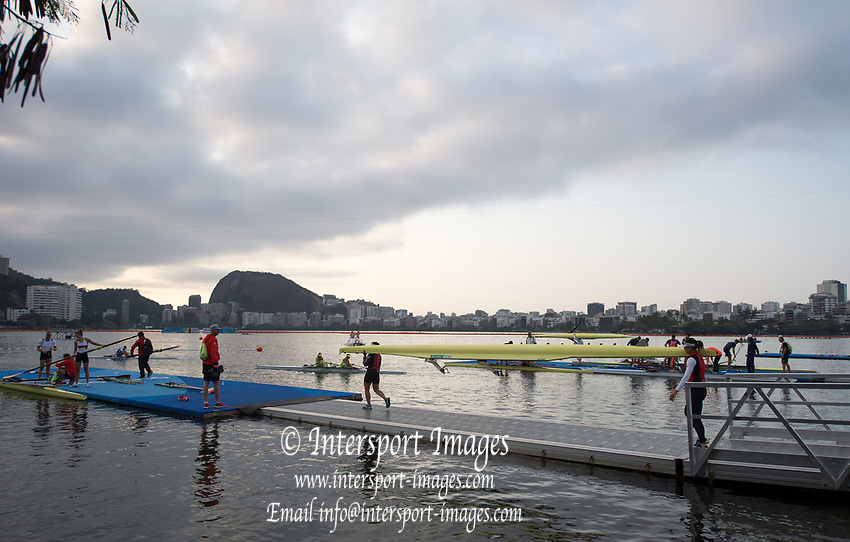 Rio de Janeiro. BRAZIL    Boating  General view of the boat park.and across the course.  2016 Olympic Rowing Regatta. Lagoa Stadium,<br /> Copacabana,  &ldquo;Olympic Summer Games&rdquo;<br /> Rodrigo de Freitas Lagoon, Lagoa. Local Time 07:19:14  Tuesday  09/08/2016<br /> [Mandatory Credit; Peter SPURRIER/Intersport Images]