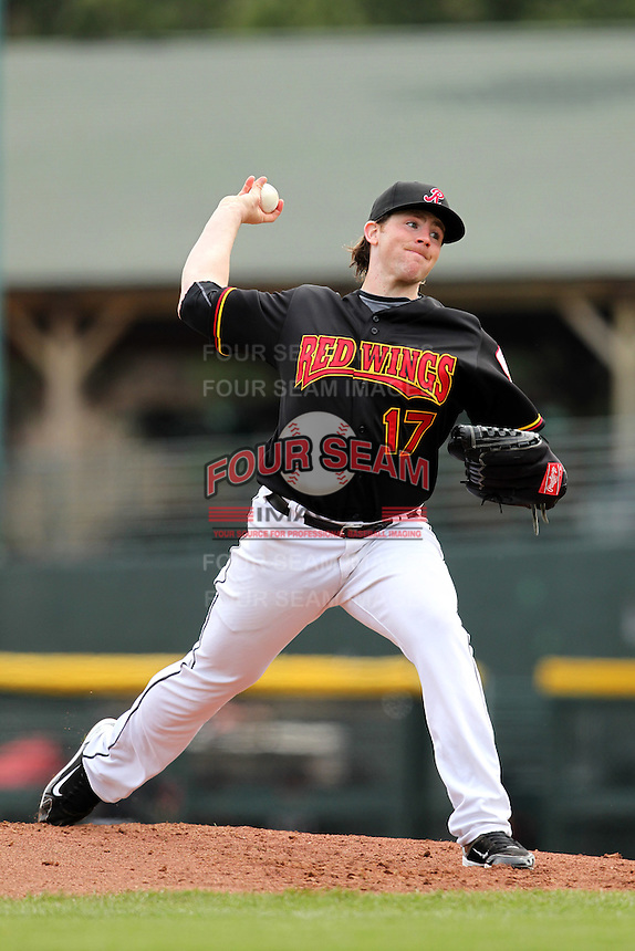 Rochester Red Wings starting pitcher Eric Hacker #17 delivers a pitch during the first game of a double header against the Lehigh Valley Ironpigs at Frontier Field on April 14, 2011 in Rochester, New York.  Rochester defeated Lehigh Valley 3-1 with a walk off home run in the bottom of the seventh.  Photo By Mike Janes/Four Seam Images