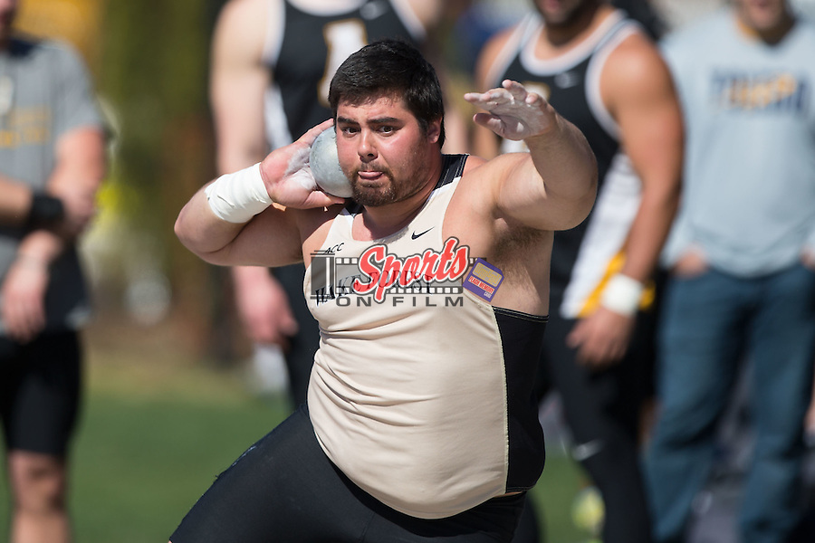 John Maurins of the Wake Forest Demon Deacons competes in the men's shot put at the Wake Forest Open on March 18, 2016 in Winston-Salem, North Carolina.  (Brian Westerholt/Sports On Film)