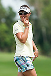 CHON BURI, THAILAND - FEBRUARY 17:  Gwladys Nocera of France gestures on the 10th hole during day one of the LPGA Thailand at Siam Country Club on February 17, 2011 in Chon Buri, Thailand.  Photo by Victor Fraile / The Power of Sport Images