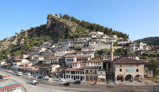 Houses in the Mangalem Quarter or Old Town and the Bachelors' Mosque or Xhami e Beqareve, built in 1827, in Berat, South-Central Albania, capital of the District of Berat and the County of Berat. In July 2008, the old town (Mangalem district) was listed as a UNESCO World Heritage Site. Picture by Manuel Cohen