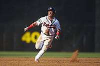Carlos Baerga Jr. (2) of the Danville Braves hustles towards third base against the Bristol Pirates at American Legion Post 325 Field on July 1, 2018 in Danville, Virginia. The Braves defeated the Pirates 3-2 in 10 innings. (Brian Westerholt/Four Seam Images)