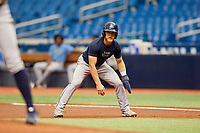 Taylor Walls (9) leads off first base during the Tampa Bay Rays Instructional League Intrasquad World Series game on October 3, 2018 at the Tropicana Field in St. Petersburg, Florida.  (Mike Janes/Four Seam Images)