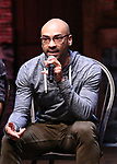 "Javon McFerrin from the 'Hamilton' cast during the student Q & A before  The Rockefeller Foundation and The Gilder Lehrman Institute of American History sponsored High School student #EduHam matinee performance of ""Hamilton"" at the Richard Rodgers Theatre on 4/26/2017 in New York City."