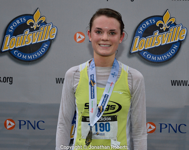 Holly Knight wins the Louisville Sports Commission Half Marathon Winner 2012 with a time of 1:20:08, photo by Jonathan Roberts