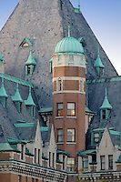Weathered green cupolas on Empress Hotel. Victoria, B.C.