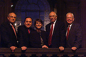 "The four leaders of the main Scottish political parties gathered for a television debate - a BBC programme called "" From here to Holywood "" shown live last night - from the  McEwan Hall, Edinburgh..... L to R David McLetchie, Alex Salmond, presenter Kirsty Wark, Donald Dewar, and Jim Wallace..... Pic Donald MacLeod"
