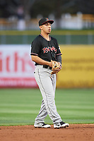 Daniel Castro (1) of the Albuquerque Isotopes on defense against the Salt Lake Bees at Smith's Ballpark on April 5, 2018 in Salt Lake City, Utah. Salt Lake defeated Albuquerque 9-3. (Stephen Smith/Four Seam Images)