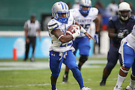 Washington, DC - September 16, 2016: Hampton Pirates running back Yahkee Johnson (22) runs the ball during game between Hampton and Howard at  RFK Stadium in Washington, DC. September 16, 2016.  (Photo by Elliott Brown/Media Images International)