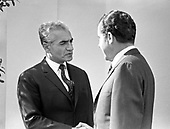 "United States President Richard M. Nixon meets Mohammad Reza Pahlavi, the Shah of Iran at the White House in Washington, DC on April 1, 1969.  Pahlavi was visiting the Nation's Capital for the State Funeral of former US President Dwight D. Eisenhower.<br /> Credit: Benjamin E. ""Gene"" Forte - CNP"