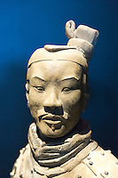 Sculpture figure of Terracotta warrior of Qin Emperor's army exhibit on display at MOMU Moesgaard Museum, Hojbjerg, Denmark