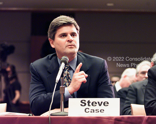 "Steve Case, Chairman and CEO, America Online, Inc. testifies at the ""En Banc"" hearing before the U.S. Federal Communications Commission on America OnLine, Inc. and Time Warner, Inc. applications for transfer of control of broadcast licenses as part of their proposed merger in Washington, DC on 27 July, 2000..Credit: Ron Sachs / CNP"