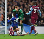 West Ham United goalkeeper David Martin is challenged by Christian Pulisic of Chelsea  during the Premier League match at Stamford Bridge, London. Picture date: 30th November 2019. Picture credit should read: Robin Parker/Sportimage