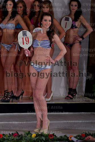 Lolita Honich participates the Miss Hungary beauty contest held in Budapest, Hungary on December 29, 2011. ATTILA VOLGYI